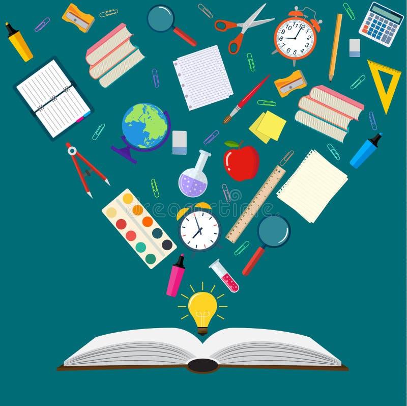 Раскройте вопросы книги назад к школе иллюстрация штока