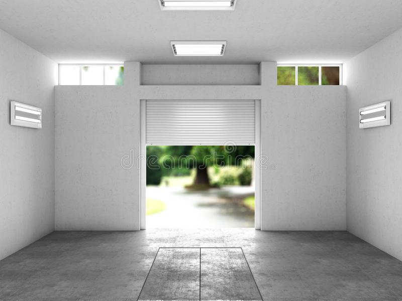Раскройте гараж с целью улицы иллюстрация 3d иллюстрация штока