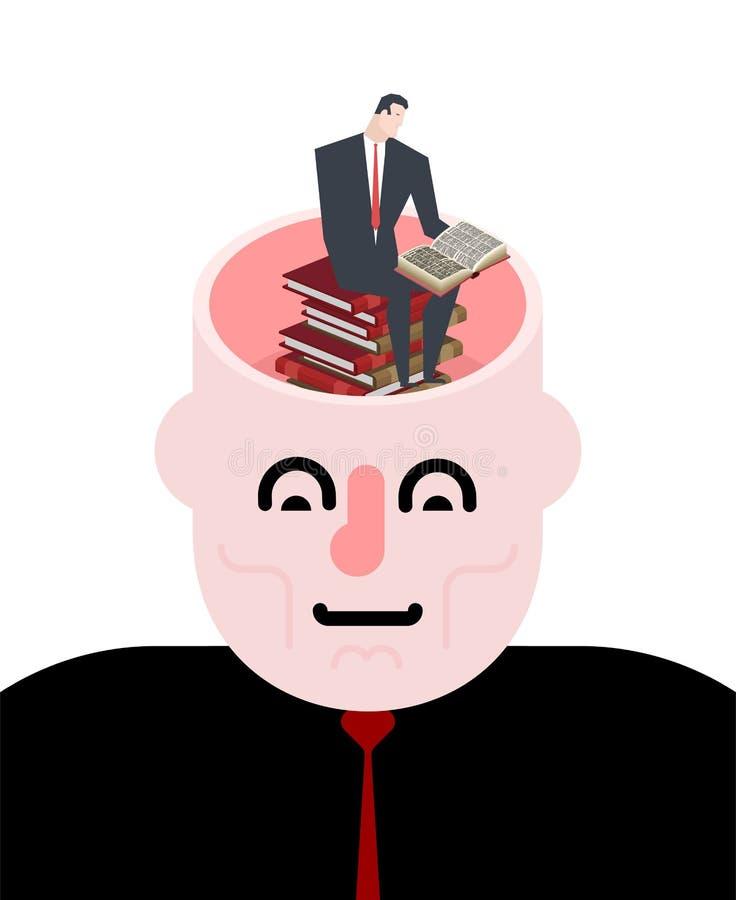 Раскройте головку Бизнесмен читает книги Illustrat концепции бредовой мысли иллюстрация штока