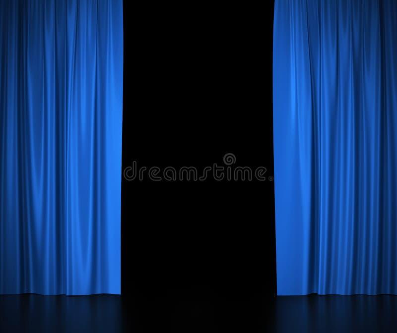 Раскройте голубые silk занавесы для театра и кино иллюстрация вектора
