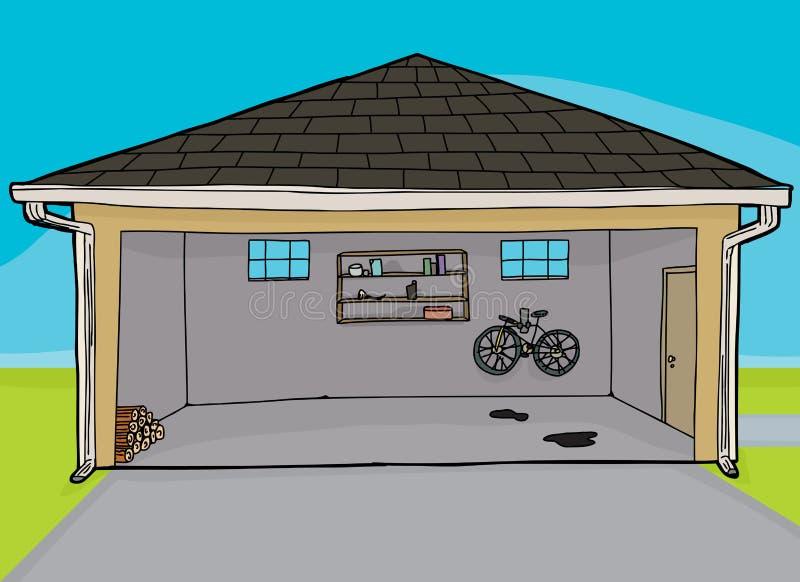 Раскройте жилой гараж иллюстрация штока