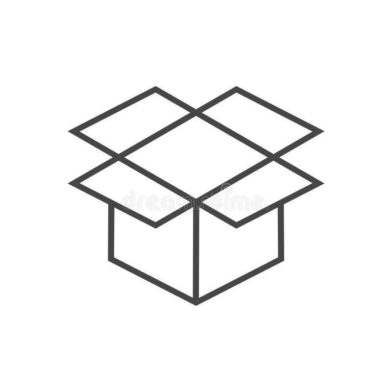Раскройте значок коробки, простой значок вектора иллюстрация штока