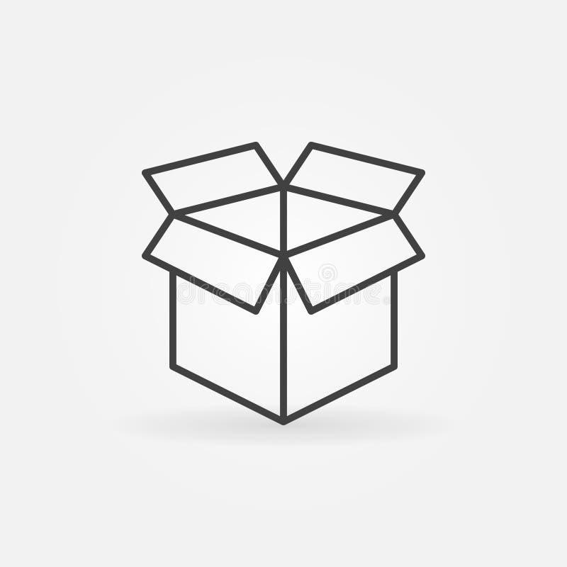 Раскройте линию значок коробки иллюстрация вектора