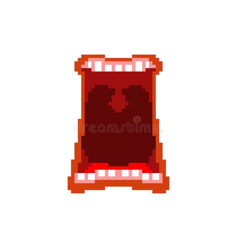 Раскройте искусство пиксела рта Биты клекота 8 Зубы и губы бесплатная иллюстрация