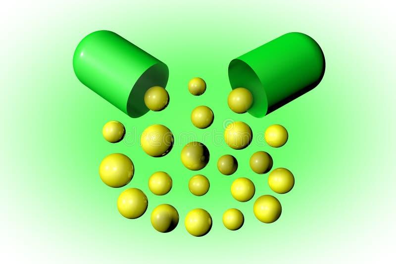 Раскройте капсулу с целебными зернами Аптека фармации Антибиотическая капсула Probiotic капсула Витамин и минерал иллюстрация вектора