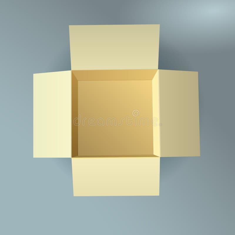 Раскройте картонную коробку, рифлёную, взгляд сверху с нежностью иллюстрация вектора
