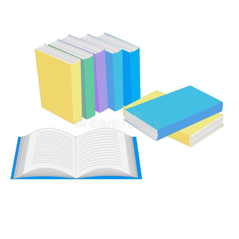 Раскройте книгу и книги стоя в строке иллюстрация штока