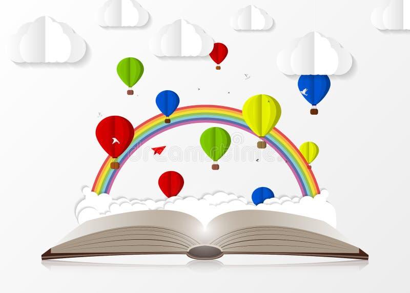 Раскройте книгу с горячими воздушными шарами Бумажный стиль вектор иллюстрация вектора