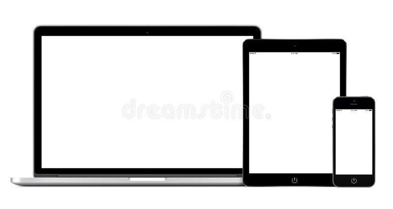 Раскройте компьтер-книжку с цифровым модель-макетом таблетки и smartphone иллюстрация штока