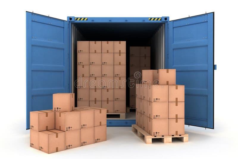 Раскройте контейнер для перевозок с грузом на белизне иллюстрация штока