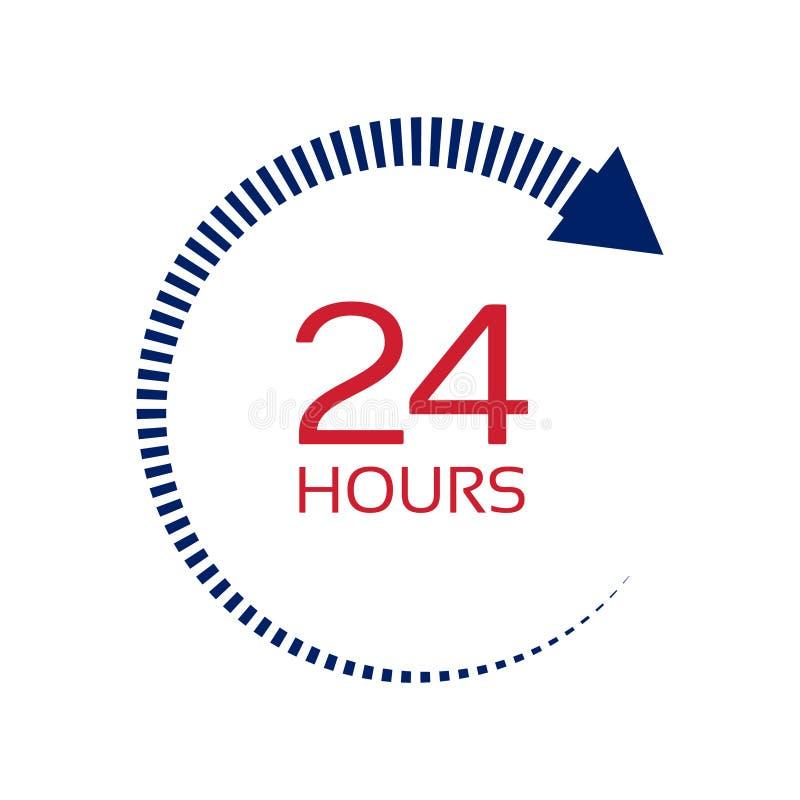 Раскройте круглосуточно служа знак стрелки часов Знак изолированный дальше иллюстрация штока