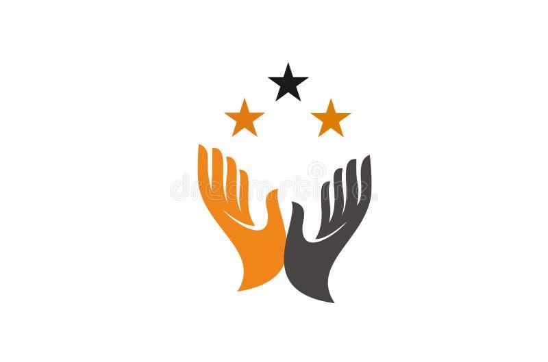 раскройте логотип руки иллюстрация вектора