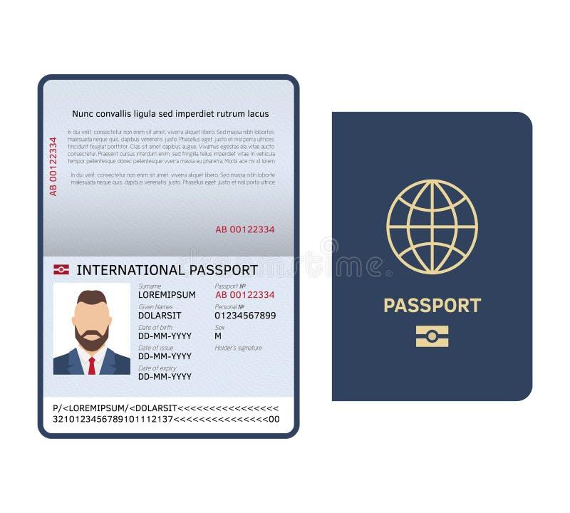 раскройте пасспорт Образца страницы фото документа id шаблон вектора паспорта мужского законного международный иллюстрация вектора