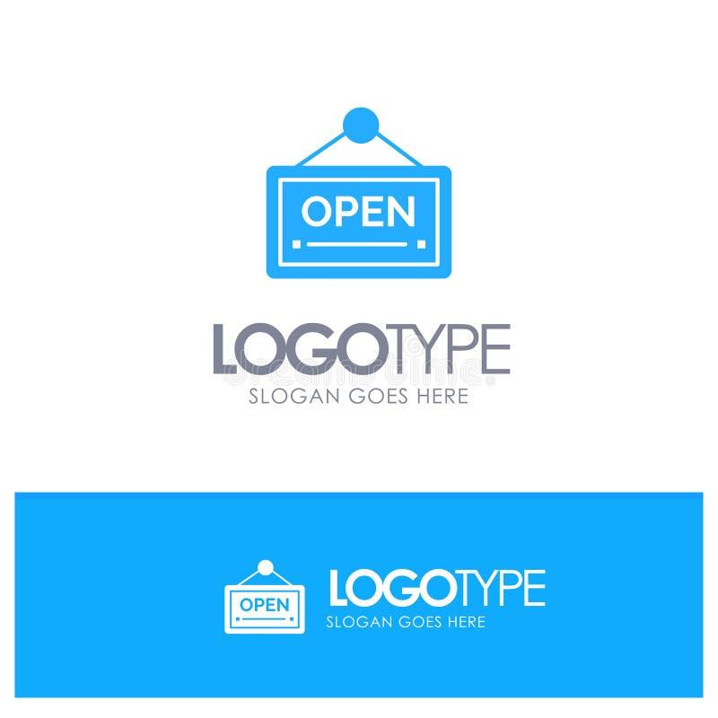 Раскройте, подпишите, доска, логотип гостиницы голубой твердый с местом для слогана иллюстрация вектора