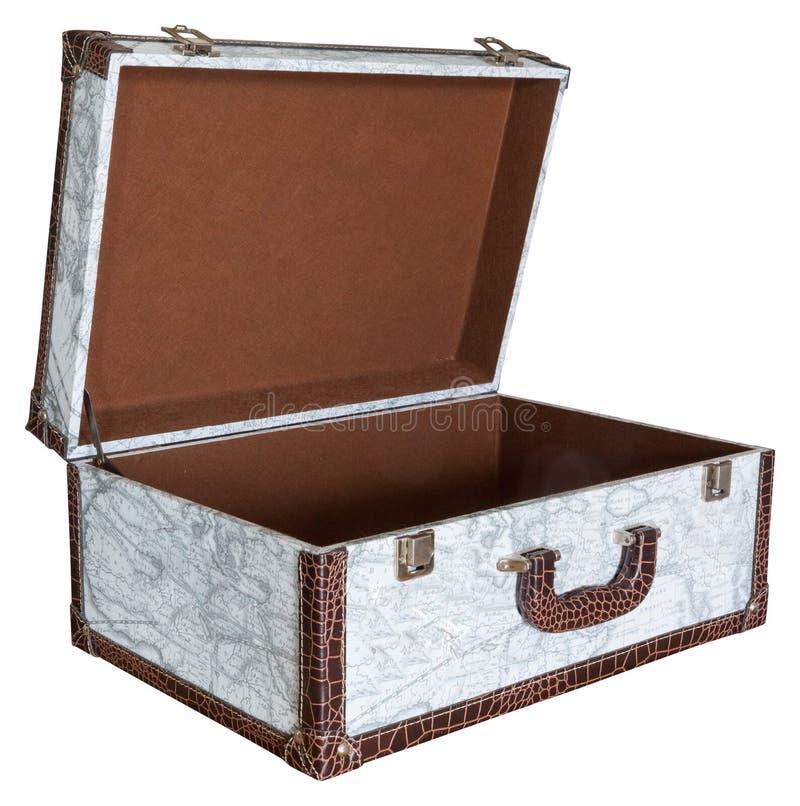 Раскройте пустой винтажный изолированный чемодан стоковое фото
