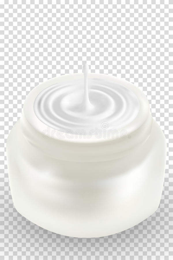 Раскройте пустой реалистический косметический контейнер или опарник макроса белый пластичный с сливк иллюстрация 3d Забота тела,  иллюстрация вектора