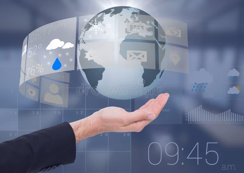 Раскройте руку дела ладони держа глобус земли мира с интерфейсом календаря погоды стоковое изображение rf