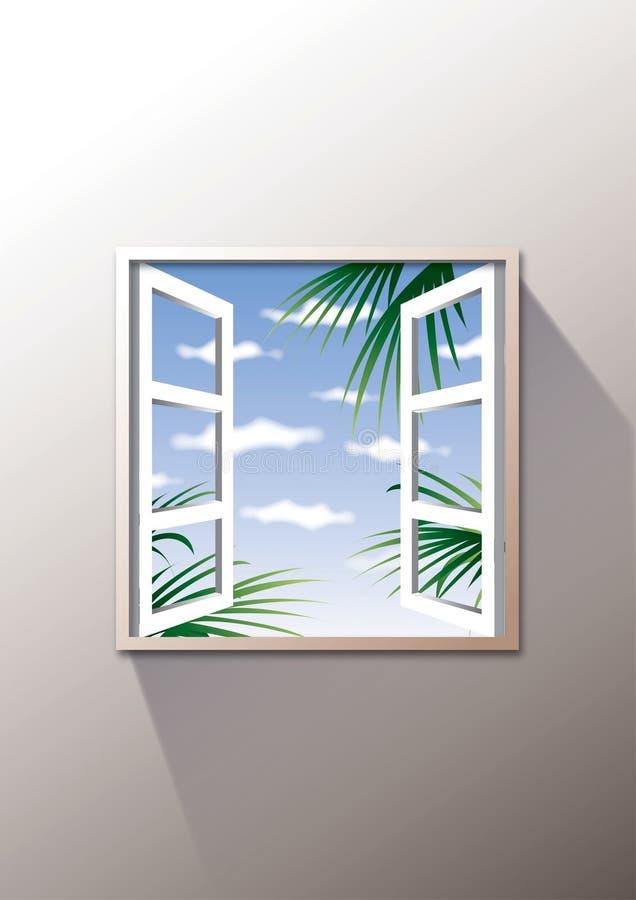 раскройте снаружи к окну иллюстрация штока