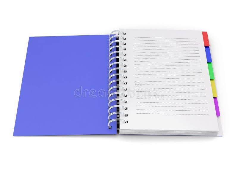 Раскройте тетрадь с голубой предусматрива с весной иллюстрация штока
