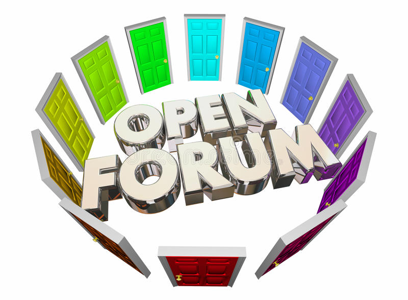 Раскройте форум много слов общественной встречи дверей иллюстрация вектора