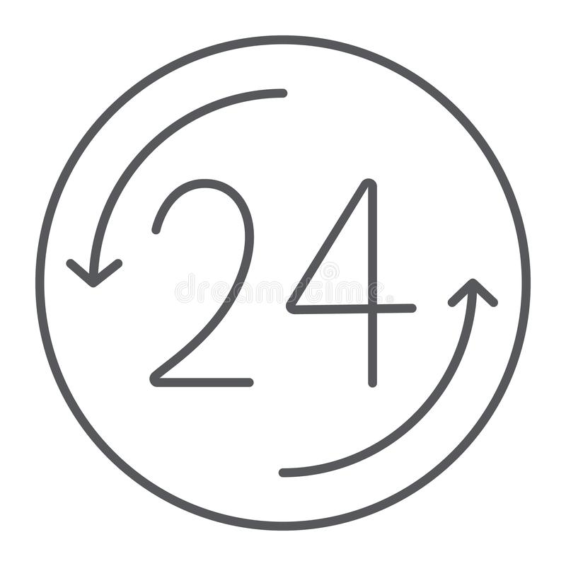 Раскройте 24 часа тонкой линии значка, обслуживания и времени, круглосуточно знака, векторных график, линейной картины на белом бесплатная иллюстрация