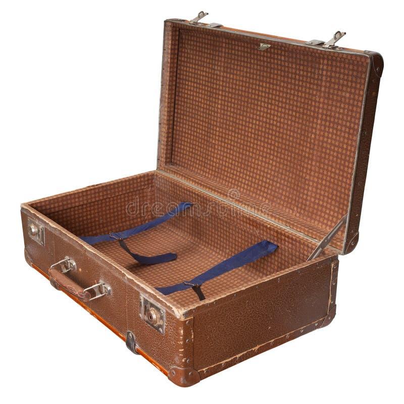 Раскройте чемодан сбора винограда стоковое фото rf