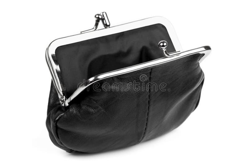 Раскройте черное портмоне изменения   стоковая фотография