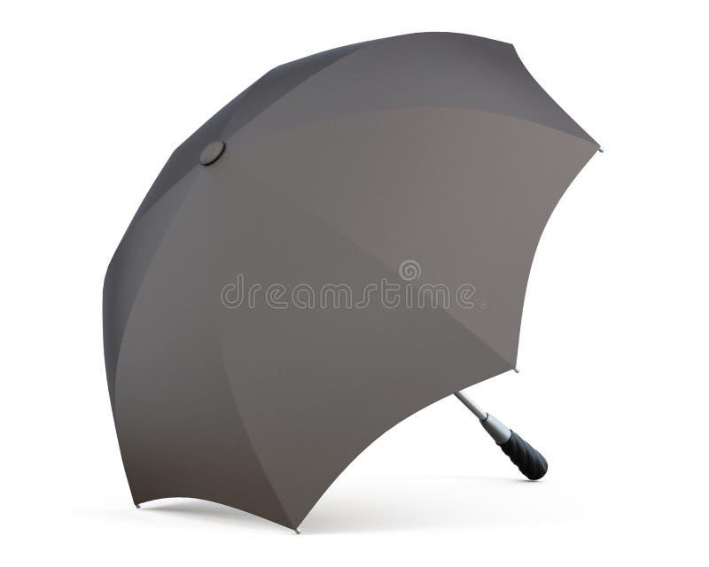 Раскройте черный зонтик изолированный на белой предпосылке перевод 3d бесплатная иллюстрация