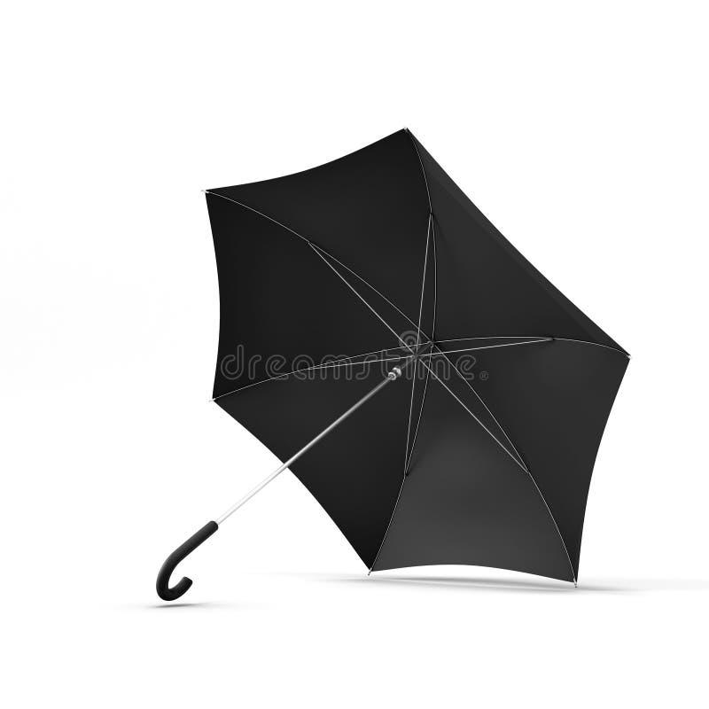 Раскройте черный зонтик изолированный на белой предпосылке бесплатная иллюстрация