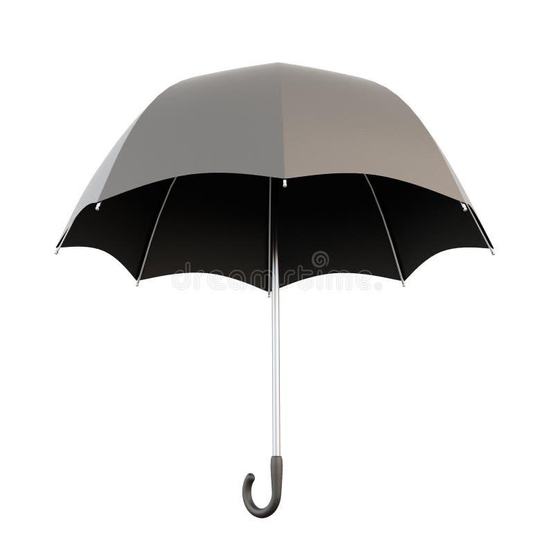Раскройте черный зонтик иллюстрация вектора