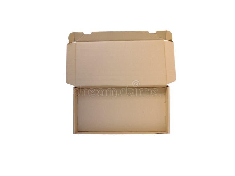 Раскройте широкую картонную коробку изолированную на белизне стоковые изображения rf