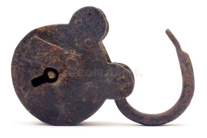раскройте padlock ржавый стоковое фото rf