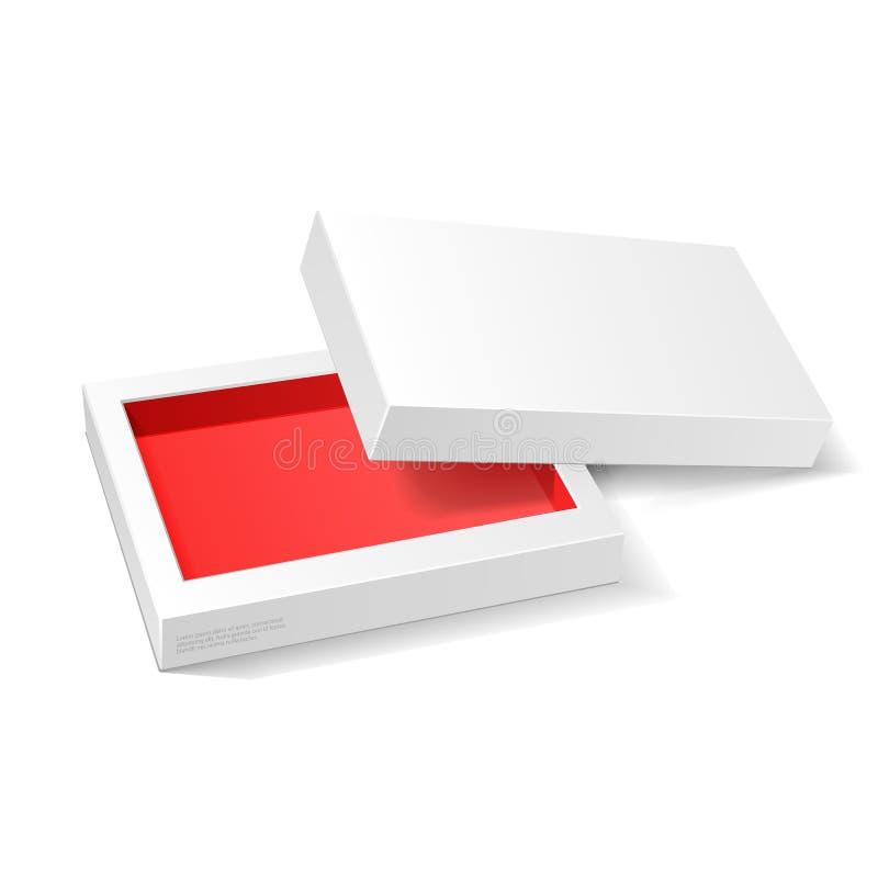 Раскрытая белая красная насмешка пакета картона вверх по коробке Конфета подарка бесплатная иллюстрация