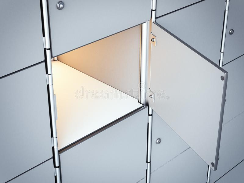 Раскрытая белая пустая безопасная коробка перевод 3d иллюстрация штока