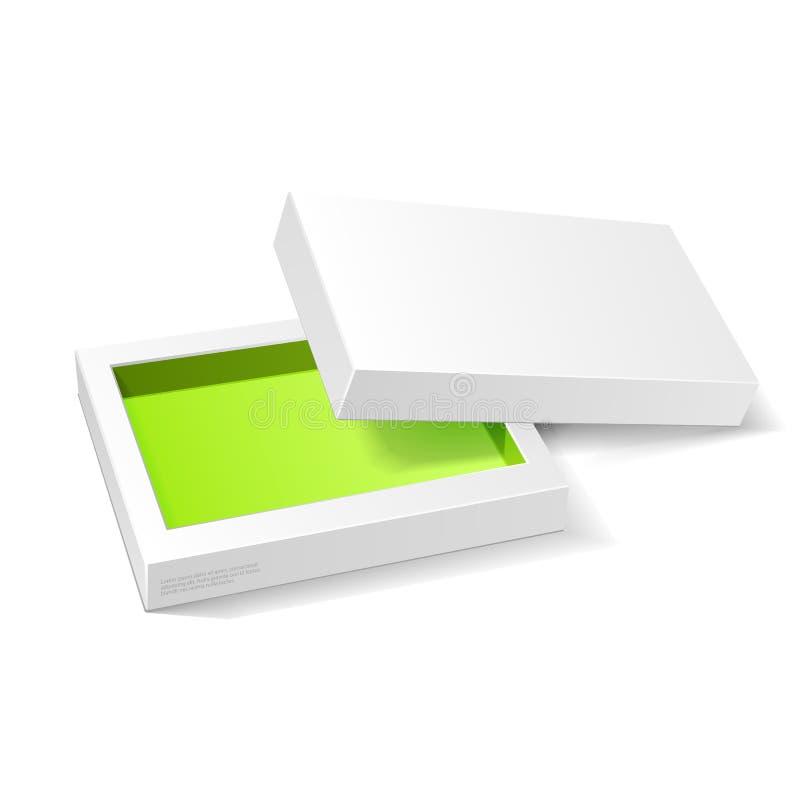 Раскрытая белая зеленая коробка пакета картона Конфета подарка На белой предпосылке Подготавливайте для вашей конструкции Упаковк иллюстрация штока