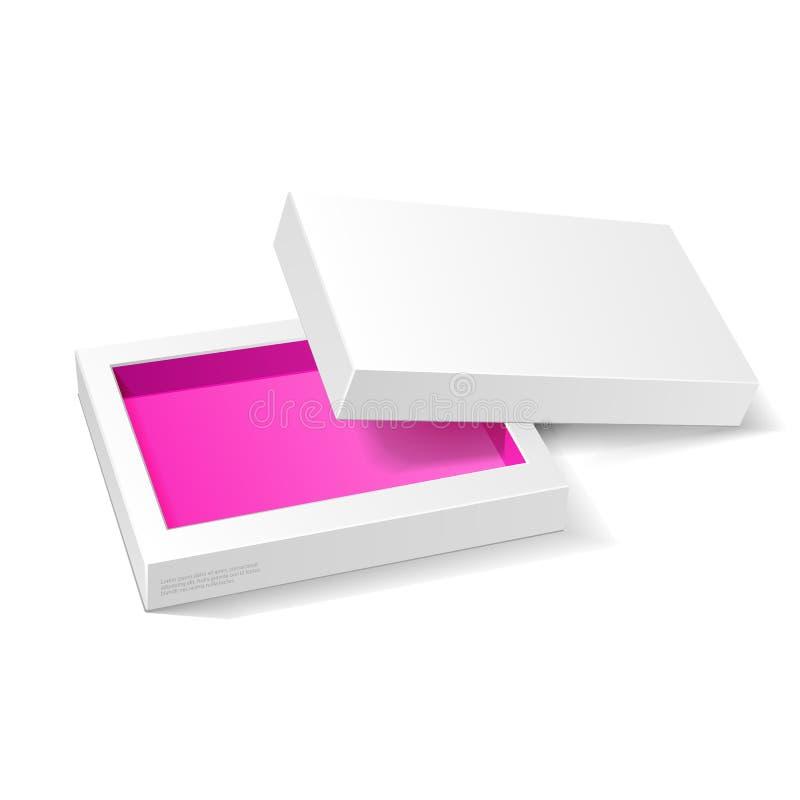 Раскрытая белая розовая фиолетовая насмешка пакета картона вверх по коробке Конфета подарка На белой изолированной предпосылке иллюстрация штока