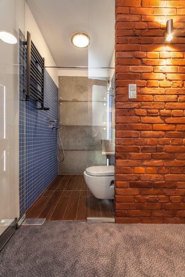 Раскрытая ванная комната с стеклянной дверью стоковые фотографии rf