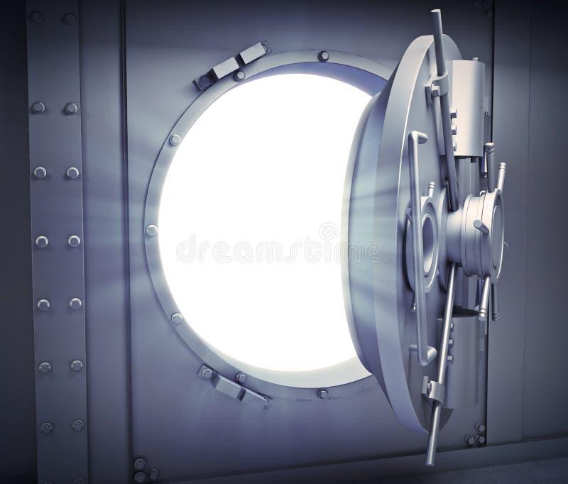 Раскрытая дверь к банковскому хранилищу иллюстрация вектора