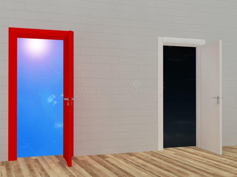 Раскрытая дверь с голубым небом и темной предпосылкой иллюстрация штока