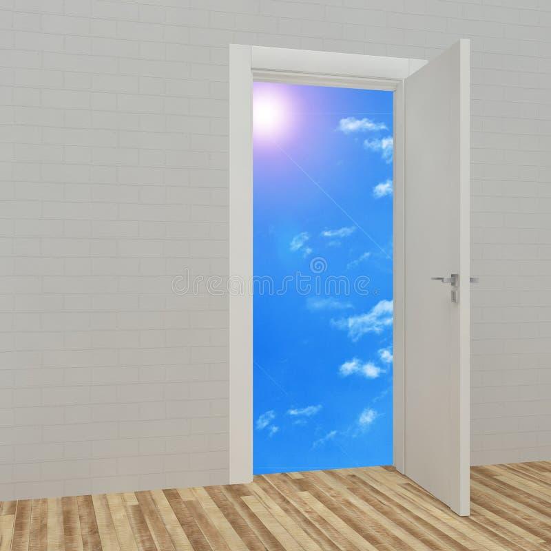 Раскрытая дверь с предпосылкой голубого неба иллюстрация вектора