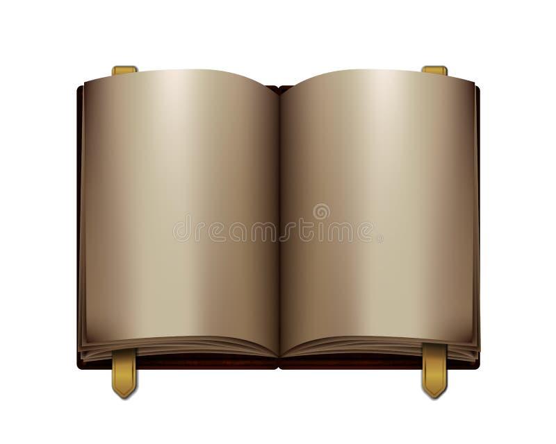 Раскрытая винтажная книга с золотыми закладками иллюстрация штока