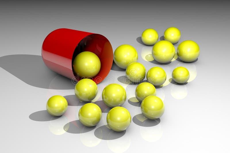 Раскрытая пилюлька капсулы с зернами Аптека фармации Антибиотическая капсула Probiotic капсула Витамин и минерал иллюстрация штока