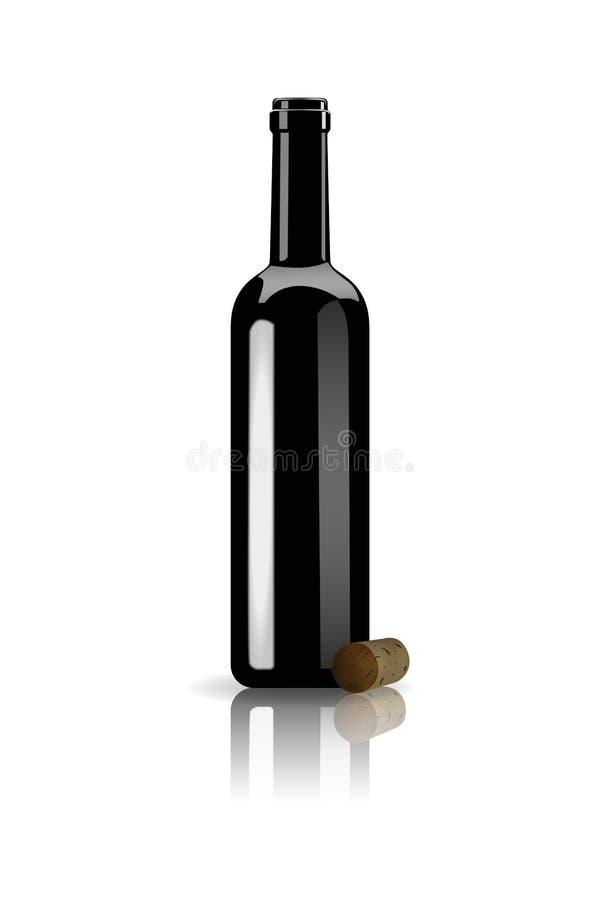 Раскрытая пробочка бутылки красного вина и вина иллюстрация вектора
