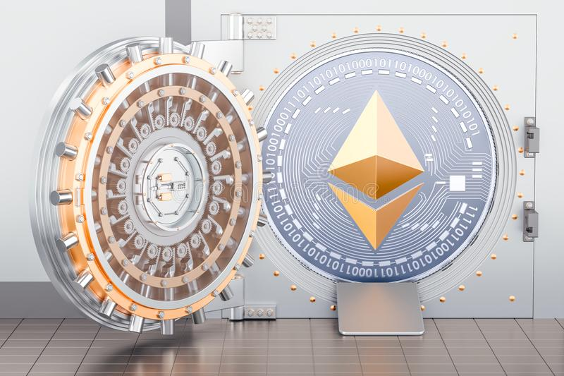 Раскрытое банковское хранилище с ethereum cryptocurrency внутрь, 3D представляет иллюстрация штока