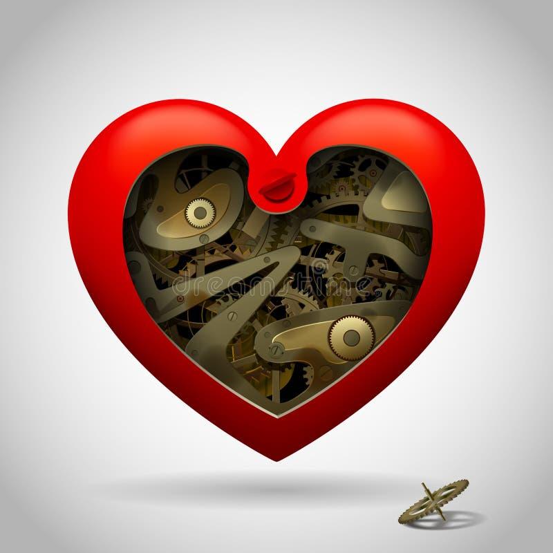 Раскрытое красное сердце при внутренность шестерни clockwork изолированная на белизне бесплатная иллюстрация