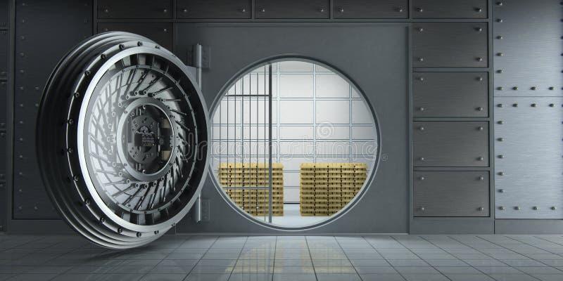Раскрытое огромное банковское хранилище вполне вид спереди золота в слитках иллюстрация штока