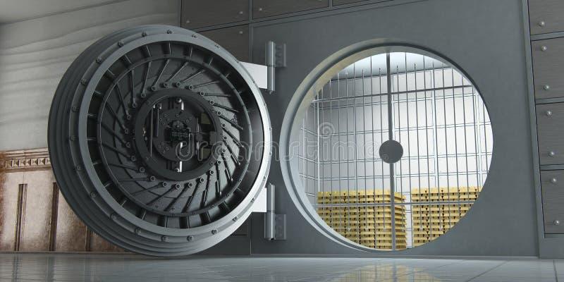 Раскрытое огромное банковское хранилище вполне вид спереди золота в слитках бесплатная иллюстрация