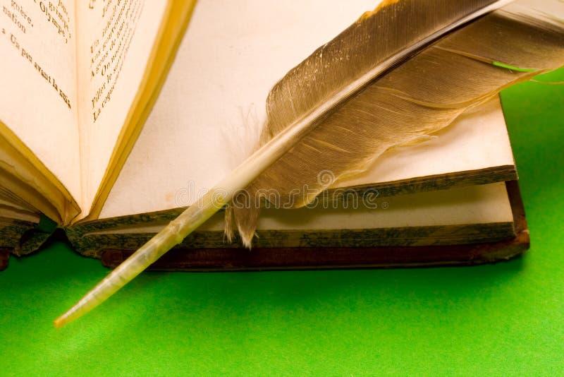 раскрытое перо книги стоковое изображение rf
