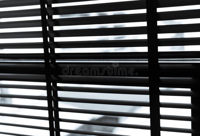 Раскрытые венецианские пластиковые шторки в черно-белом Пластичное окно с шторками Дизайн интерьера живущей комнаты с окном стоковое изображение