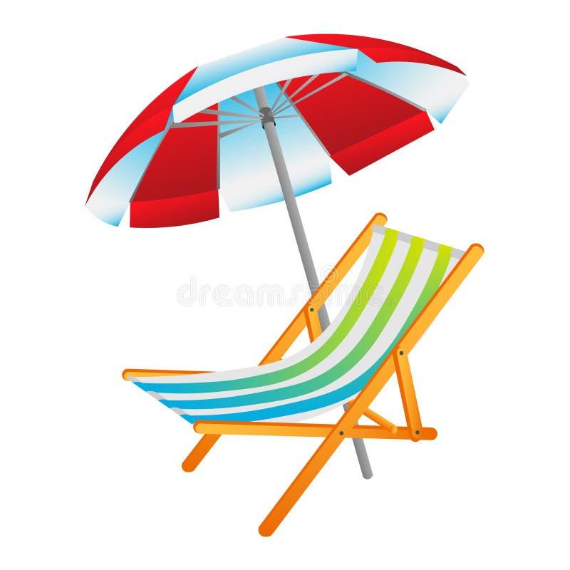 Раскрытые зонтик солнца и deckchair иллюстрация штока